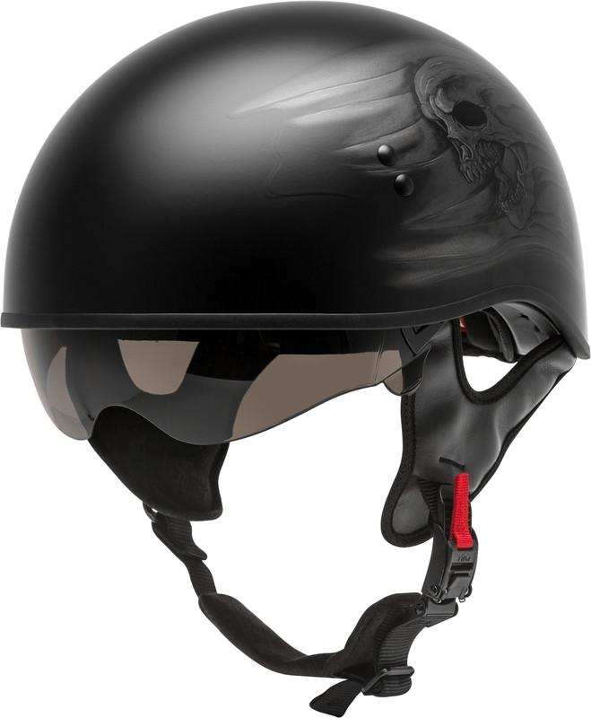 GMAX HH-65 Half Helmet Devotion Naked Matte Black/Silver